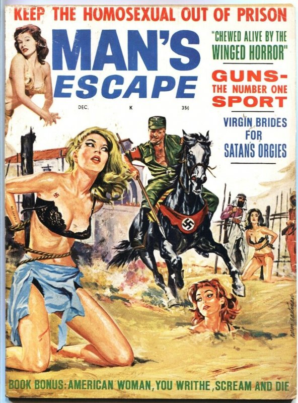 MAN'S ESCAPE-DEC 1963-NAZI TORTURE COVER-CHEESECAKE-CIVIL WAR--BONDAGE-FINE