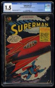 Superman #72 CGC FA/GD 1.5 Cream To Off White 1st Financier!
