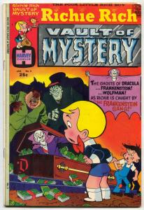 Richie Rich Vault of Mystery #2 1975- Dracula Frankenstein cover