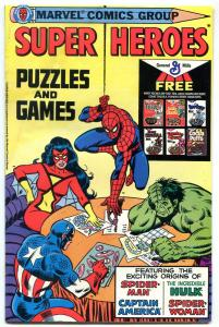 SUPER HEROES PUZZLES AND GAMES-HULK-SPIDERMAN-MARVEL VG