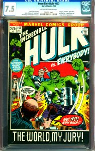 Incredible Hulk #153 CGC Graded 7.5