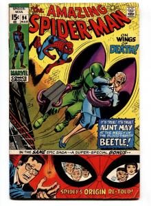 Amazing Spider-Man #94 1971-ORIGIN RETOLD-BEETLE appearance- VG