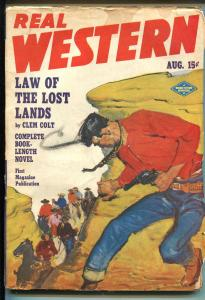 REAL WESTERN 8/1949-PULP-THRILLS-ACTION-vg/fn