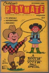 Children's Playmate Magazine 11/1966-Bill Woggon cover art-puzzles-games-VG