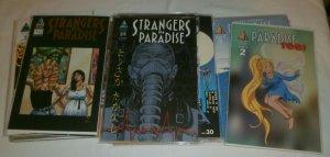 Strangers in Paradise V3 #2-10,12-15,17,19+ Paradise Too! #2-9+ comics lot of 56