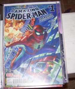 Amazing Spider-Man #  1 ( 2015 Marvel)  alex ross cover oversize issue  SILK