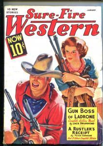 SURE-FIRE WESTERN 01/1939-ACE-BOUND GUNMAN-WESTERN PULP THRILLS-fn minus