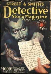 DETECTIVE STORY MAGAZINE-APR 19 1931-PULP CRIME----SHADOW CONTEST CLUES