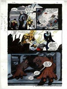 JLA 30 PAGE 4 COLOR GUIDE ORIGINAL WATERCOLOR PAINTED ART JUSTICE LEAGUE BIN!!