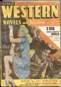 WESTERN NOVELS & STORIES--APRIL 1949--SPICY GIRL ART PULP COVER--ALLEN ANDERSON