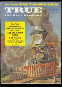 TRUE MAGAZINE AUG 1955-AL STUMP-BOB LEMON-LOCOMOTIVES FN