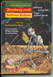 Magazine of Fantasy & Science Fiction 7/1957-Mercury-robot cover-Mel Hunter-K...