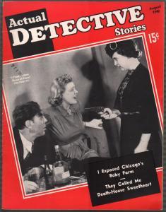 Actual Detective Stories 8/1940-pulp violence-gun moll-VF
