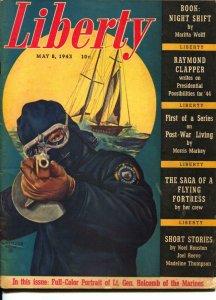 Liberty 5/8/1943-Tommy Gun Coast Guard cover-McClelland Barclay-pulp-VG
