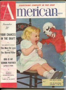 American Magazine 11/1953-scary clown cover-Hugh B Cave-pulp fiction-classic ...