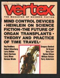 Vertex #1 1/1973-First issue-Ray Bradbury-Harlan Ellison-Harry Harrison-Furry...