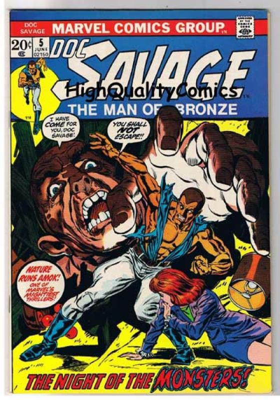 DOC SAVAGE #5, VF+, Man of Bronze, Monsters, 1972, more in store