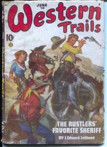 Western Trails 6/1945-Ace-Norman Saunders bondage cover-pulp violence-G