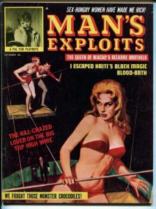 Man's Exploits 12/1963-Vicky Kennedy cheesecake-black magic-crocodiles-pulp-FN