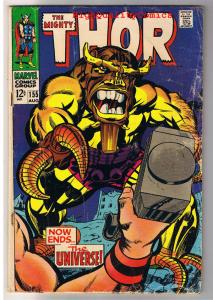 THOR #155, VG-, God of Thunder, Stan Lee, Jack Kirby, 1966, more Thor in store