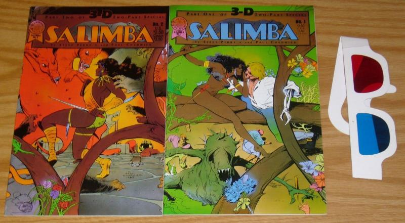 Salimba 3-D #1-2 FN/VF complete series with glasses - paul chadwick - jungle set