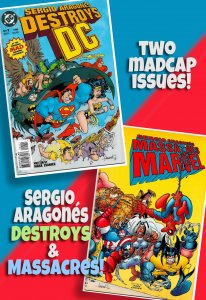 SERGIO ARAGONÉS DESTROYS DC - and then he MASSACRES MARVEL!  2 Hilarious Issues