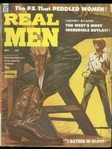REAL MEN SEPT 1958-LOLA HALL CHEESECAKE-SID SHORES ART- VG