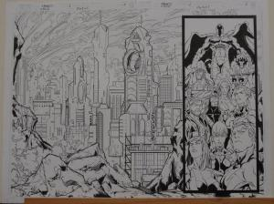 ROGER CRUZ / ANDY OWENS original art, MAGNETO #1, Double Splash pgs #2-3, 22x16