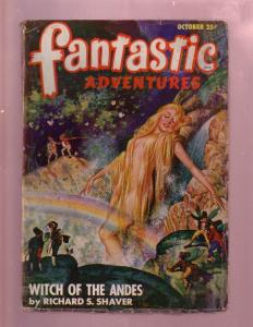 FANTASTIC ADVENTURES-OCT 1947-GOOD GIRL ART PULP COVER- G