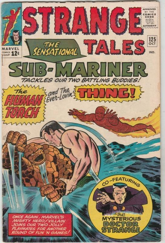 Strange Tales #125 Dr. Strange strict FN- 6.0   Human Torch &  Thing vs. Namor