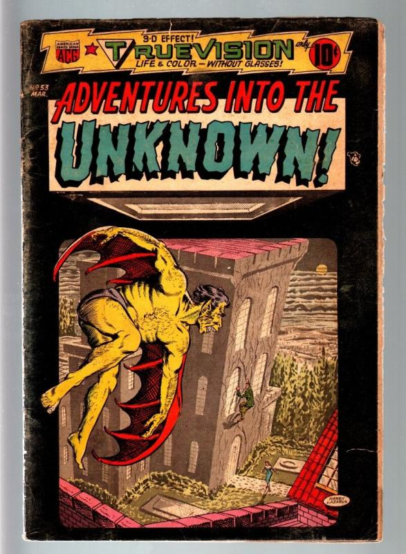 ADVENTURES INTO THE UNKNOWN #53-3 D-1954 PRE CODE HORROR-VAMPIRE-WEREWOLF-A VG