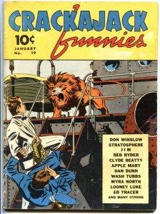 CRACKAJACK FUNNIES #19-1940-TARZAN-RED RYDER-DON WINSLOW-DAN DUNN--RARE