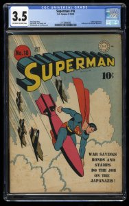 Superman #18 CGC VG- 3.5 Off White to White WWII War Cover!
