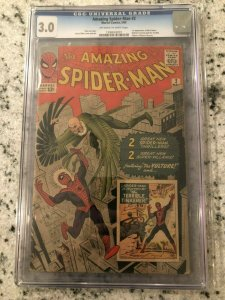 Amazing Spider-Man # 2 GD/VG CGC 3.0 GRADED Marvel COMIC Book 1st VULTURE TJ1