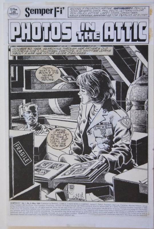 ANDY KUBERT / JOHN SEVERIN original art, SEMPER FI #6 pg 1, 11x 16,1989,Splash