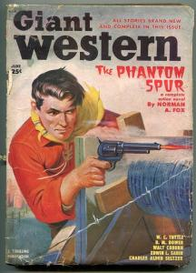 GIANT WESTERN 06/1950-THRILLING-PULP FICTION-GUNFIGHT-BARBED WIRE-TUTTLE-good
