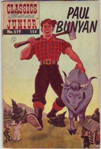 Classics Illustrated Junior #519 (Oct-55) VG Affordable-Grade Paul Bunyan