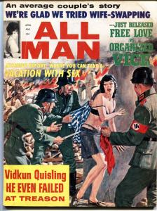 ALL MAN-04/1965-STANLEY PUBS-NAZI MENACE NAKED GIRL-TERROR-PULP-EXPLOITATION