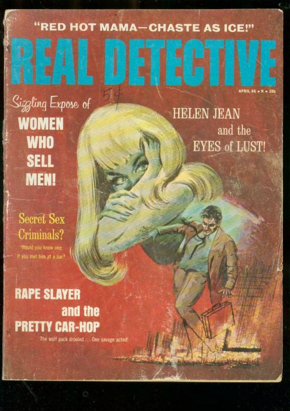 REAL DETECTIVE-APR 1966-RARE CRIME PULP-MURDER-FIREBUGS FR/G