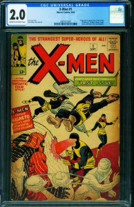 X-MEN #1 cgc 2.0-First issue-Marvel Key comic book 2061027001
