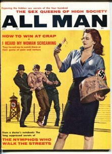 All Man 9/1961-Stanley Pubs-Nazi tattoo lampshade cover-WILD pulp