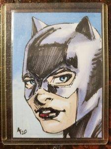 Adam Fields Art Original Art Card Catwoman