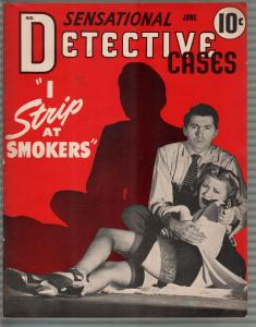 Sensational Detective Cases 6/1942- stockings-strip tease-morbid violent pulp-VG