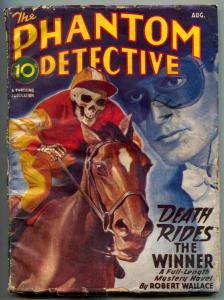 Phantom Detective Pulp August 1946- Death Rides a Winner- Skeleton cover