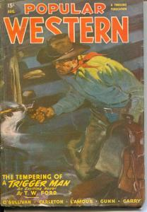 Popular Western 8/1947-Thrilling-A. Leslie Ross-Louis L'amour-VG/FN