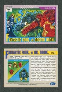1991 Marvel Comics II  Card  #124 ( Fantastic Four vs Dr Doom )  MINT