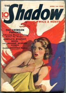 Shadow Pulp April 1 1938- Crimson Phoenix -Whisperer G/VG
