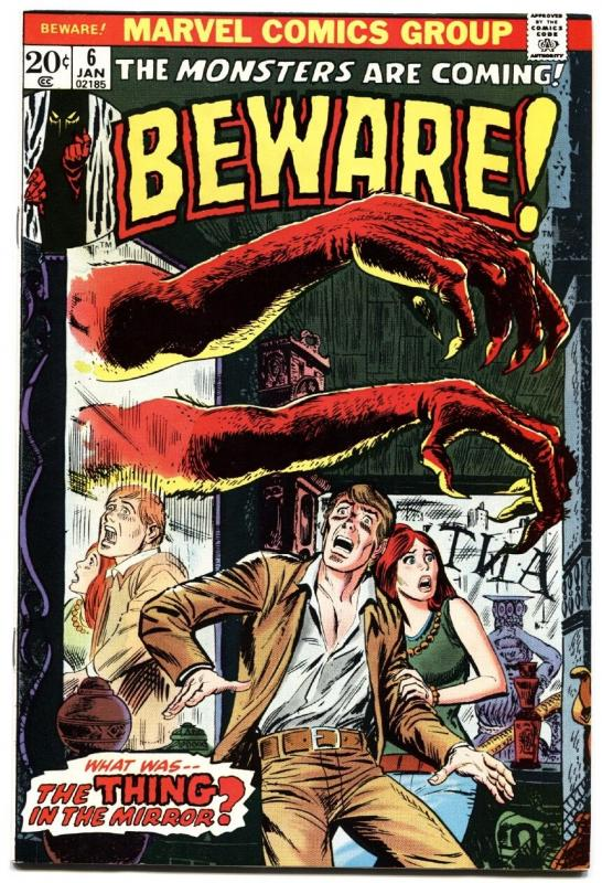 BEWARE #6-THING IN THE MIRROR!-MARVEL-1974-HORROR-NM