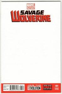Savage Wolverine #1 Blank Sketch Variant Cvr (Marvel, 2013) NM