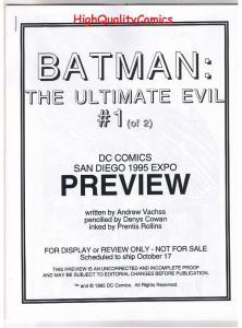BATMAN  ULTIMATE EVIL #1, Black White Promo ,1995, VF/NM, Preview,more in store
